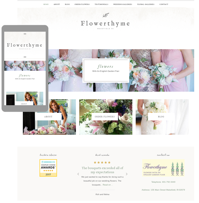 Flowerthyme's new website mobile responsive and secure.