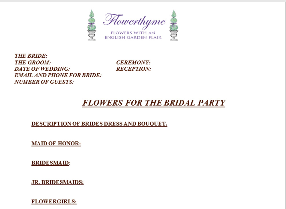 Our Wedding Flower Questions Worksheet